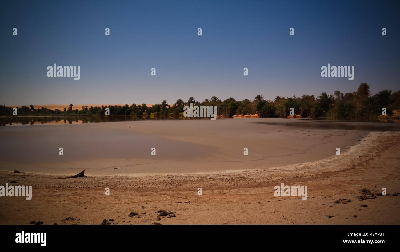 Panoramic view to Teguedei lake , Ennedi, Chad - Stock Image