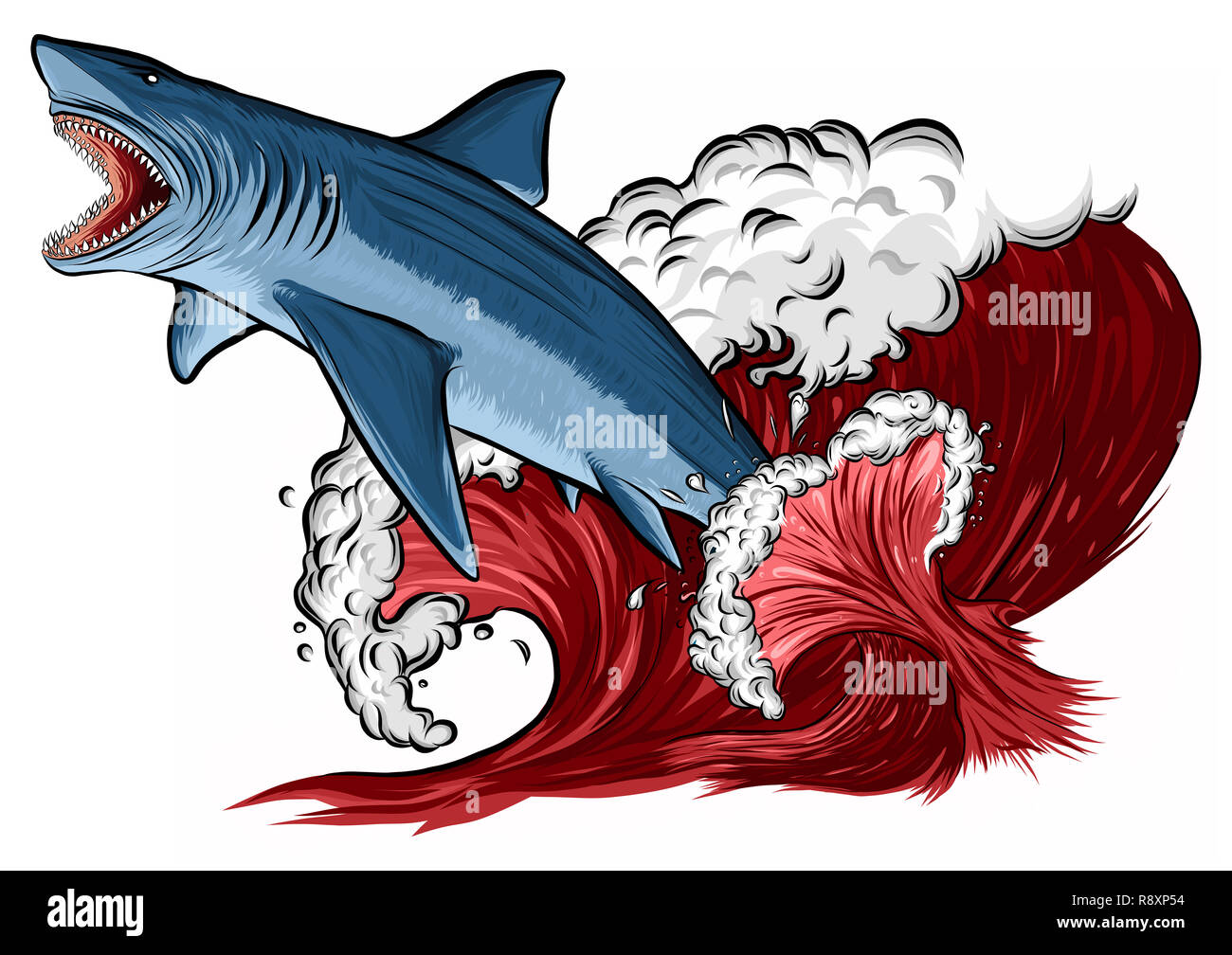 Shark jump with open mouth in the sea. Shark isolation on a white background. Flat  illustration - Stock Image