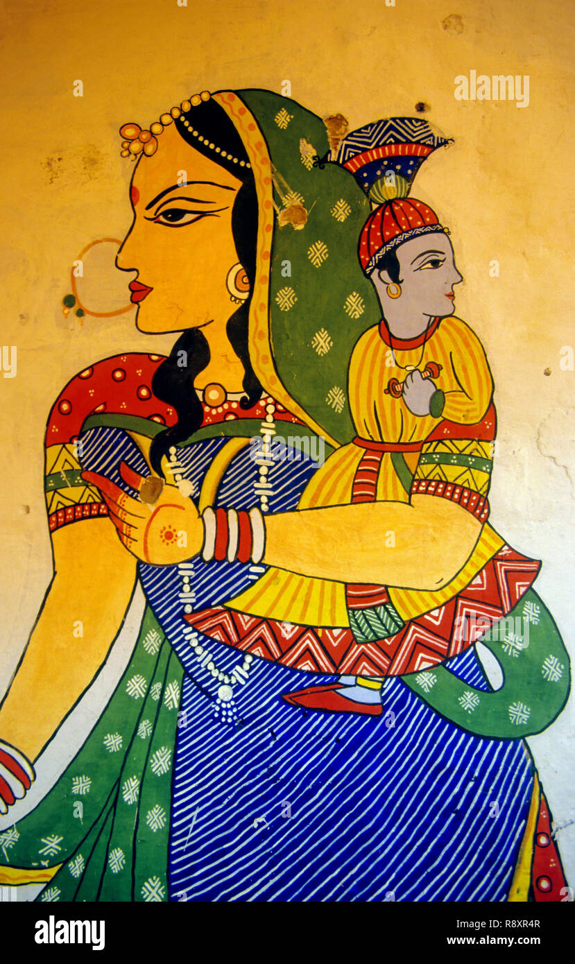 Wall Paintings, Jaipur, Rajasthan, India - Stock Image
