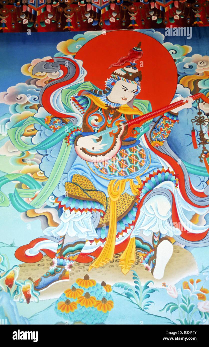 Wall Paintings, Tibetan Monastery, Bodh Gaya, Bihar, India - Stock Image