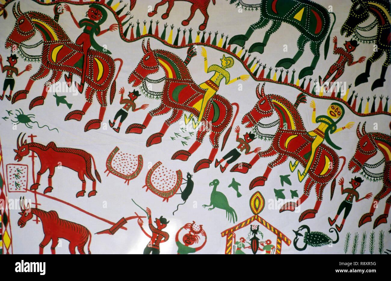 Pithaura Paintings, Chhota Udaipur, Gujarat, India - Stock Image