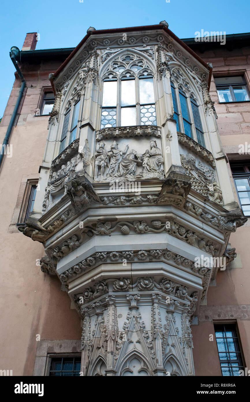 Bowfront, rectory, Sebaldus church at old town, Nuremberg, Franconia, Bavaria, Germany, Europe Stock Photo