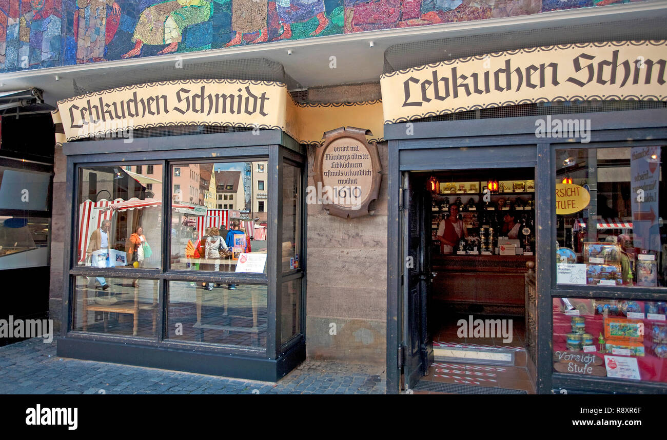 Lebkuchen Schmidt, famous Ginger bread shop at main market, old town, Nuremberg, Bavaria, Germany, Europe - Stock Image