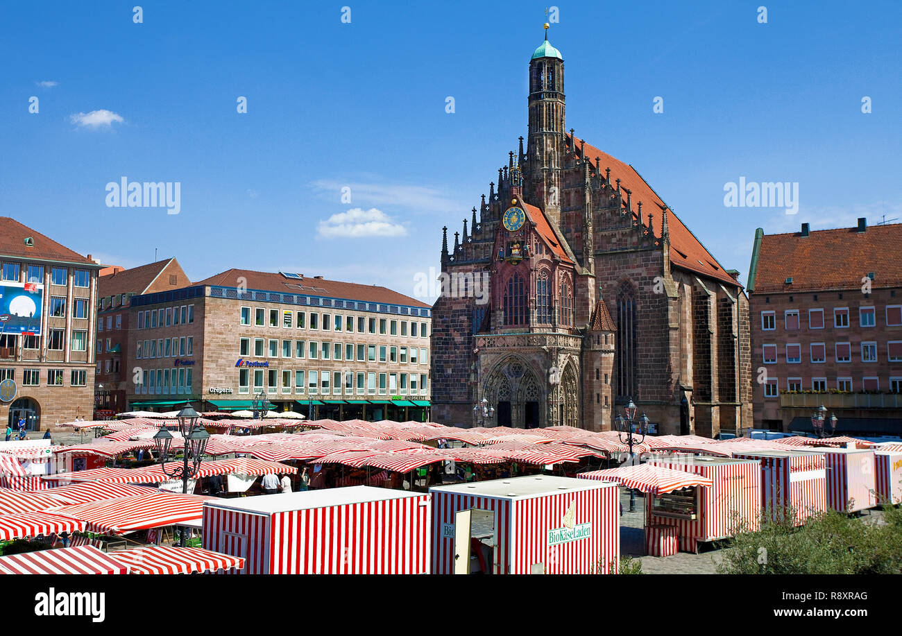 Main market, behind the Church of Our Lady, old town, Nuremberg, Franconia, Bavaria, Germany, Europe - Stock Image