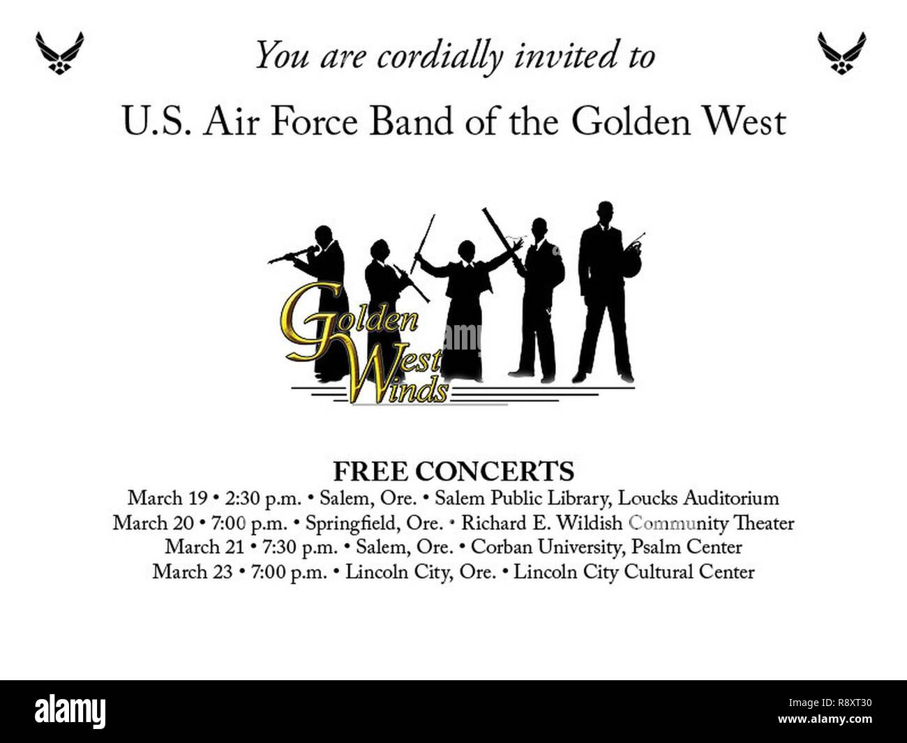 GW performs four free outreach concerts in Oregon, (from March 19-March 23, 2017), all of which are family-friendly and open to the public. This evite was shared on social media to invite our audience members to the performances. - Stock Image