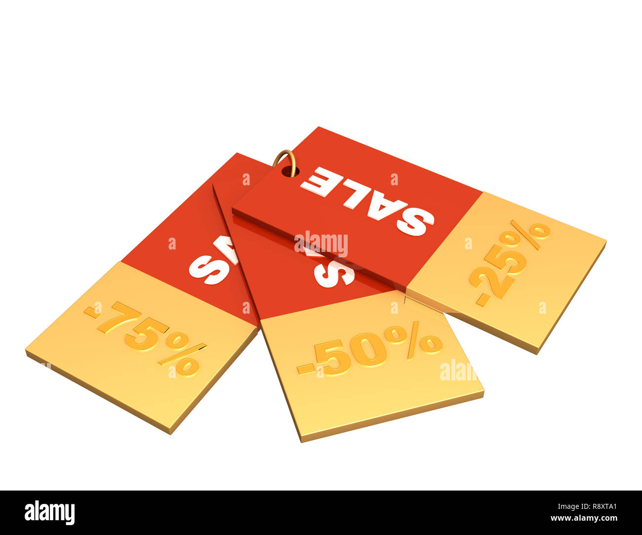 Sale - three labels of red color - Stock Image