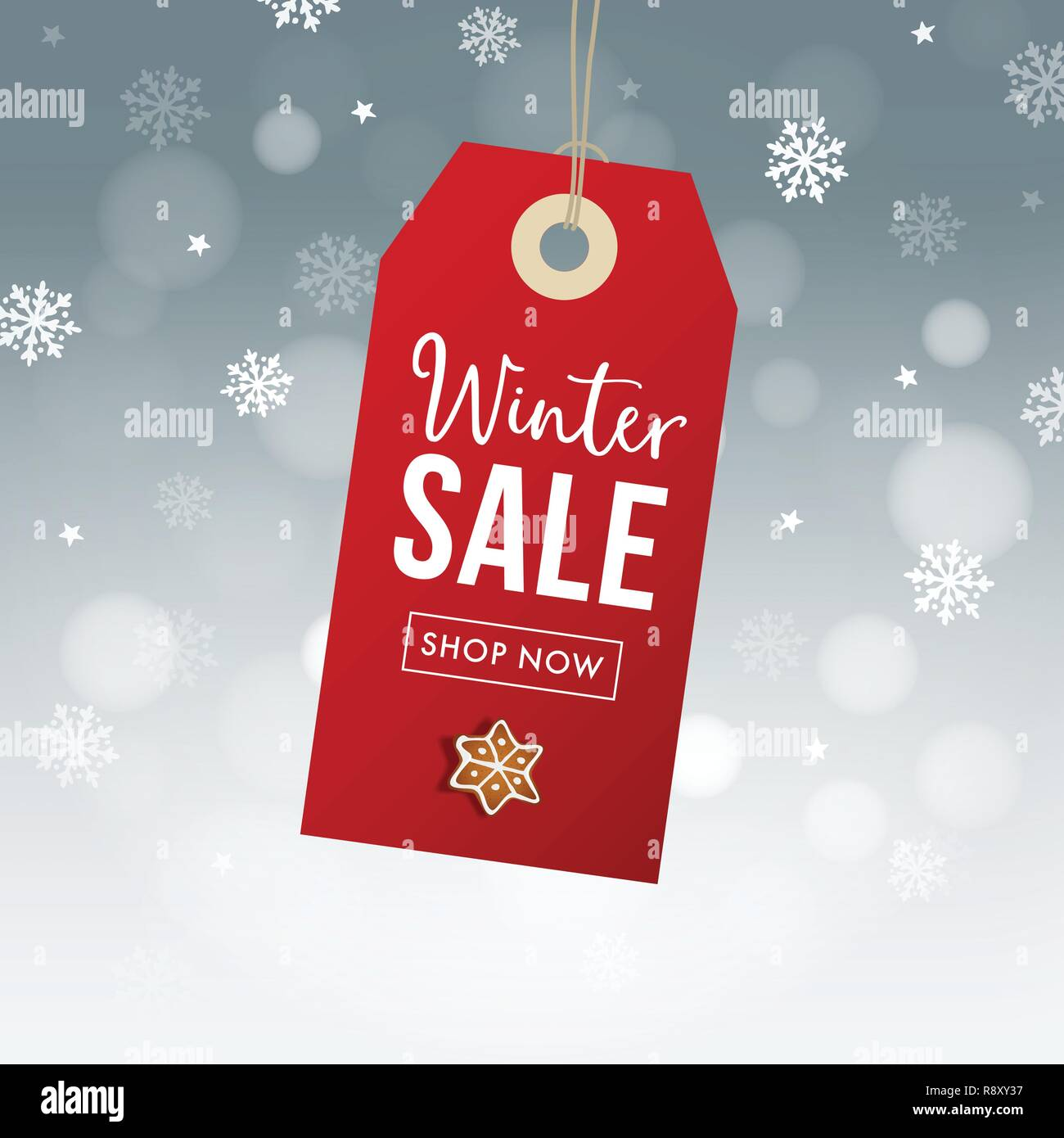 Winter Sale Poster Template Hanging Red Gift Tag Label