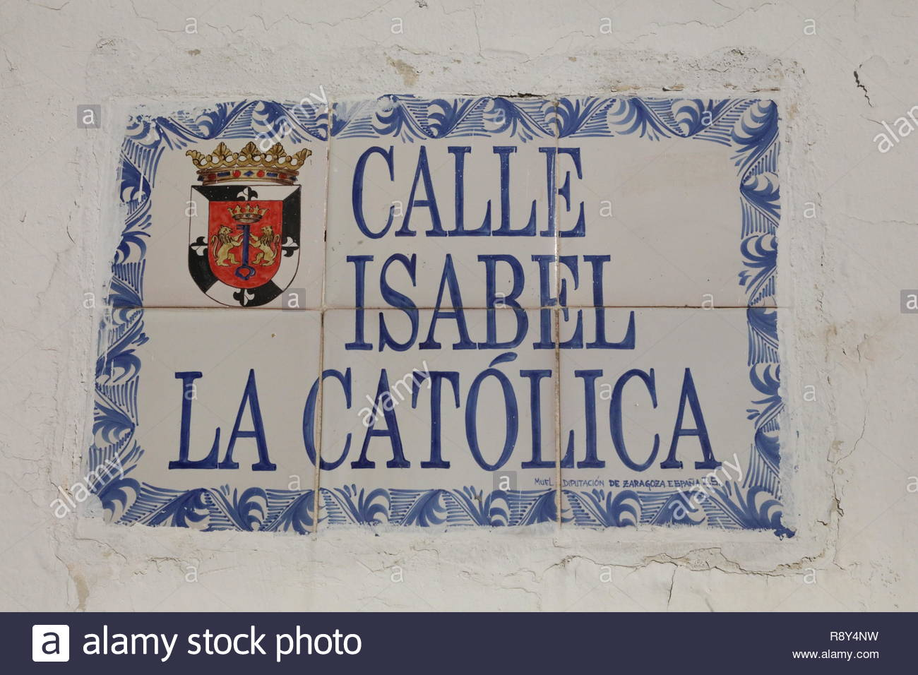 Street name sign Santo Domingo in the Zona Colonial (Ciudad Colonial) - Stock Image