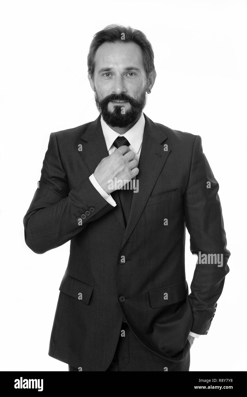 Businessman concept. Confident businessman isolated on white. Bearded businessman in formal wear. Successful businessman with classy style. Profit in business. - Stock Image