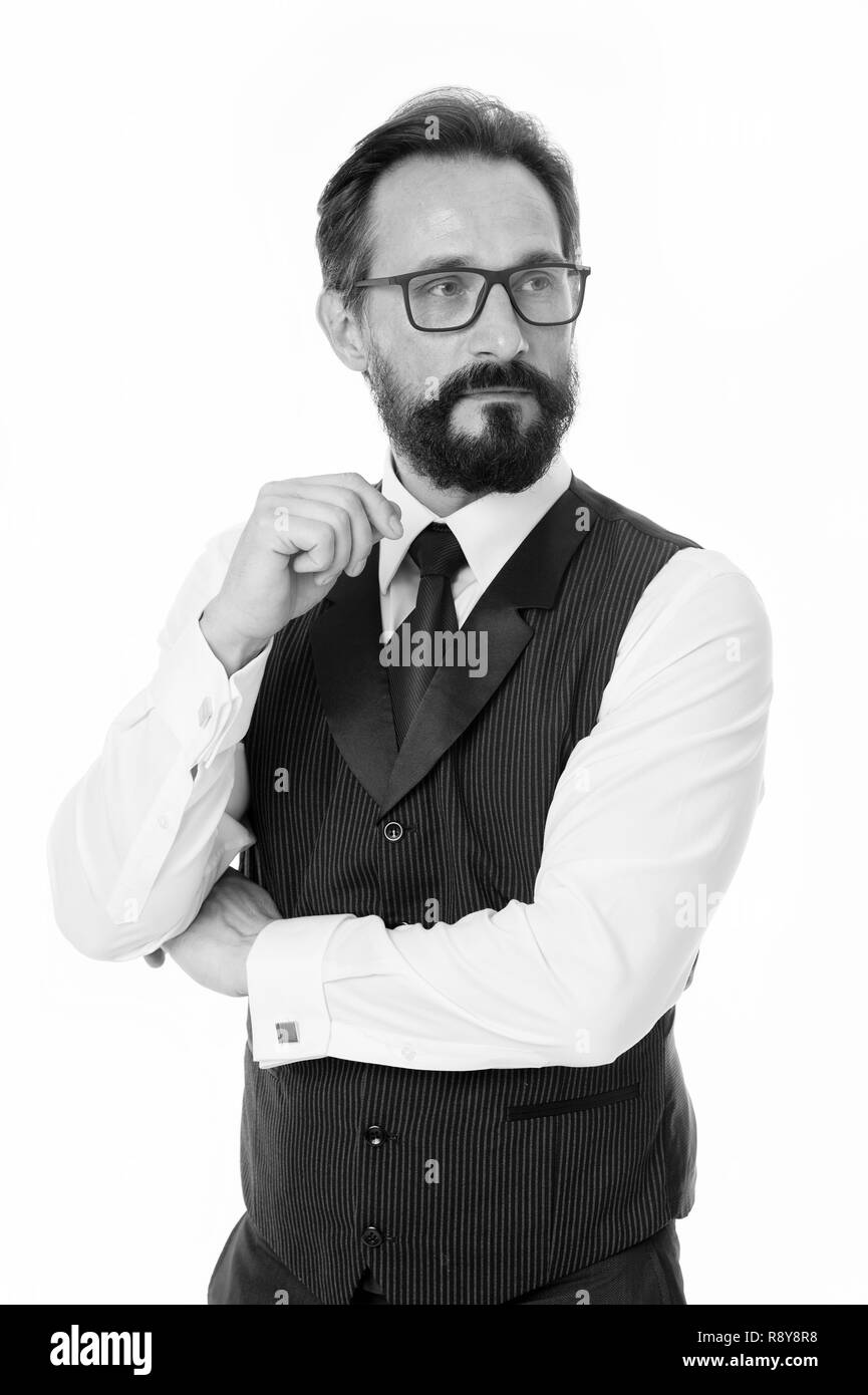 Guide to prescription eyeglass lenses and frames. Businessman classic formal clothing and proper eyewear white background. Business appearance must be proper. Businessman formal eyewear choice. - Stock Image