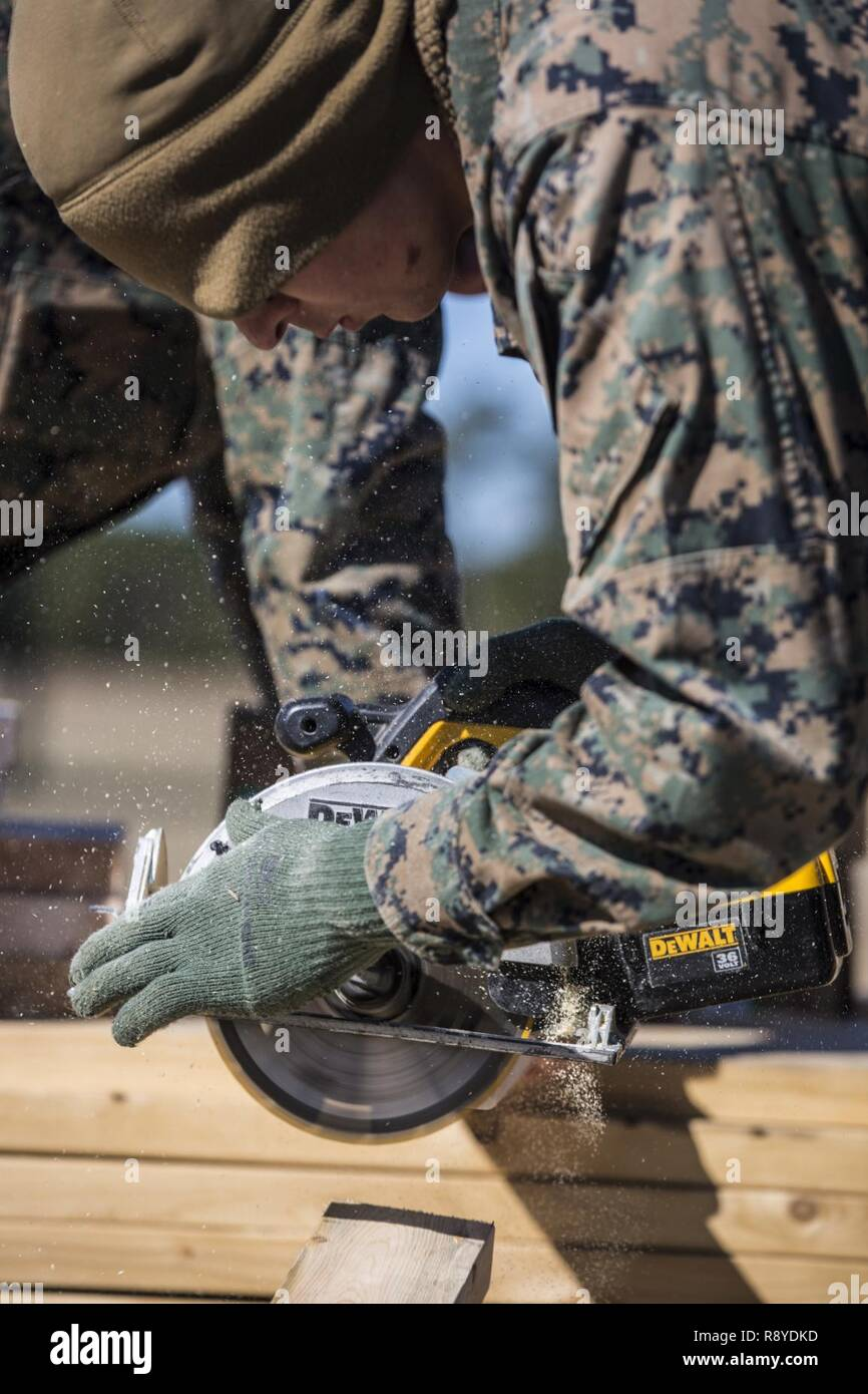 U.S. Marine Corps Lance Cpl. Kyle J. Smith, a combat engineer assigned to Marine Wing Support Squadron (MWSS) 274, cuts wood during a training exercise at Marine Corps Auxiliary Landing Field Bogue, N.C., Mar. 4, 2017. MWSS-274 established an air facility aboard MCALF Bogue in order to provide air base support functions to Marine Aircraft Group 29. - Stock Image