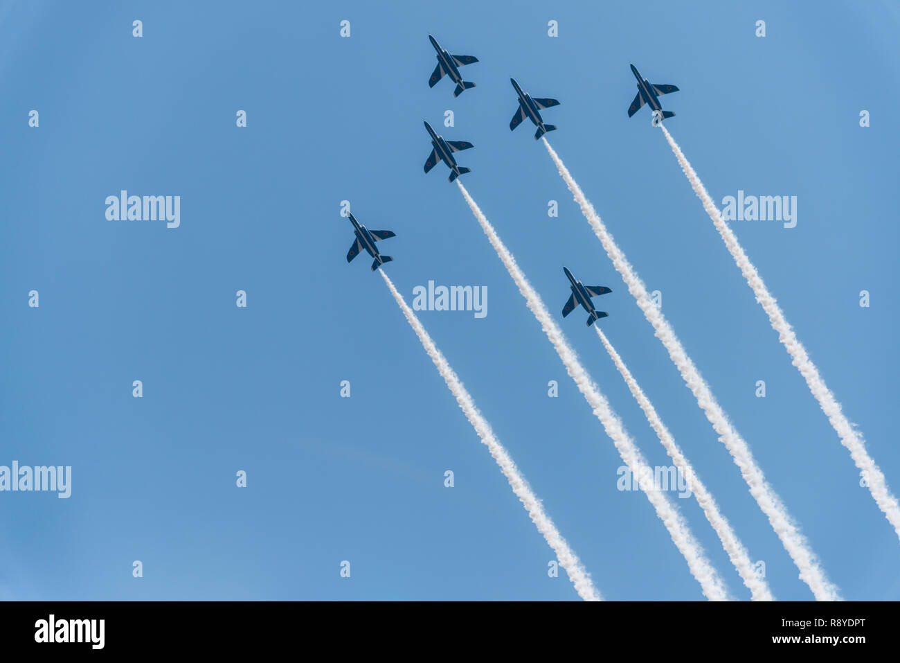 Air acrobatic show by Blue Impulse, Japanese fighter jets - Stock Image