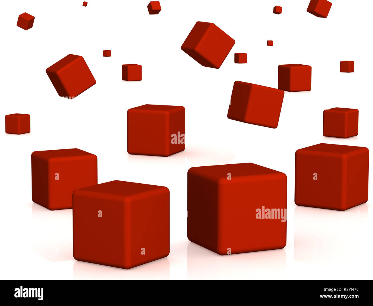 Abstract background - falling red boxes. Objects over white - Stock Image