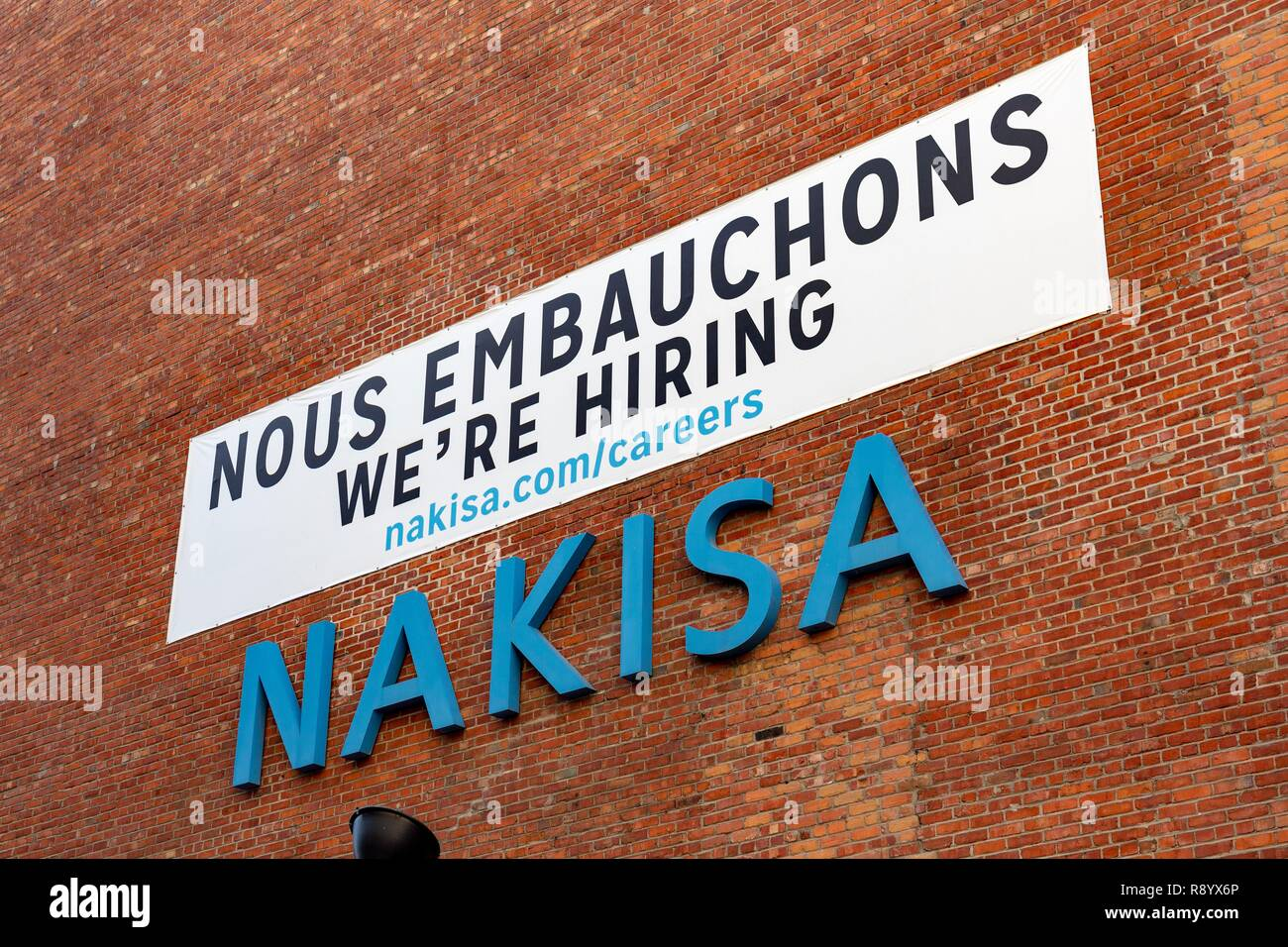 Canada, Province of Quebec, Montreal, employment, Announcement to Hire Staff in International Nakisa Corporation - Stock Image