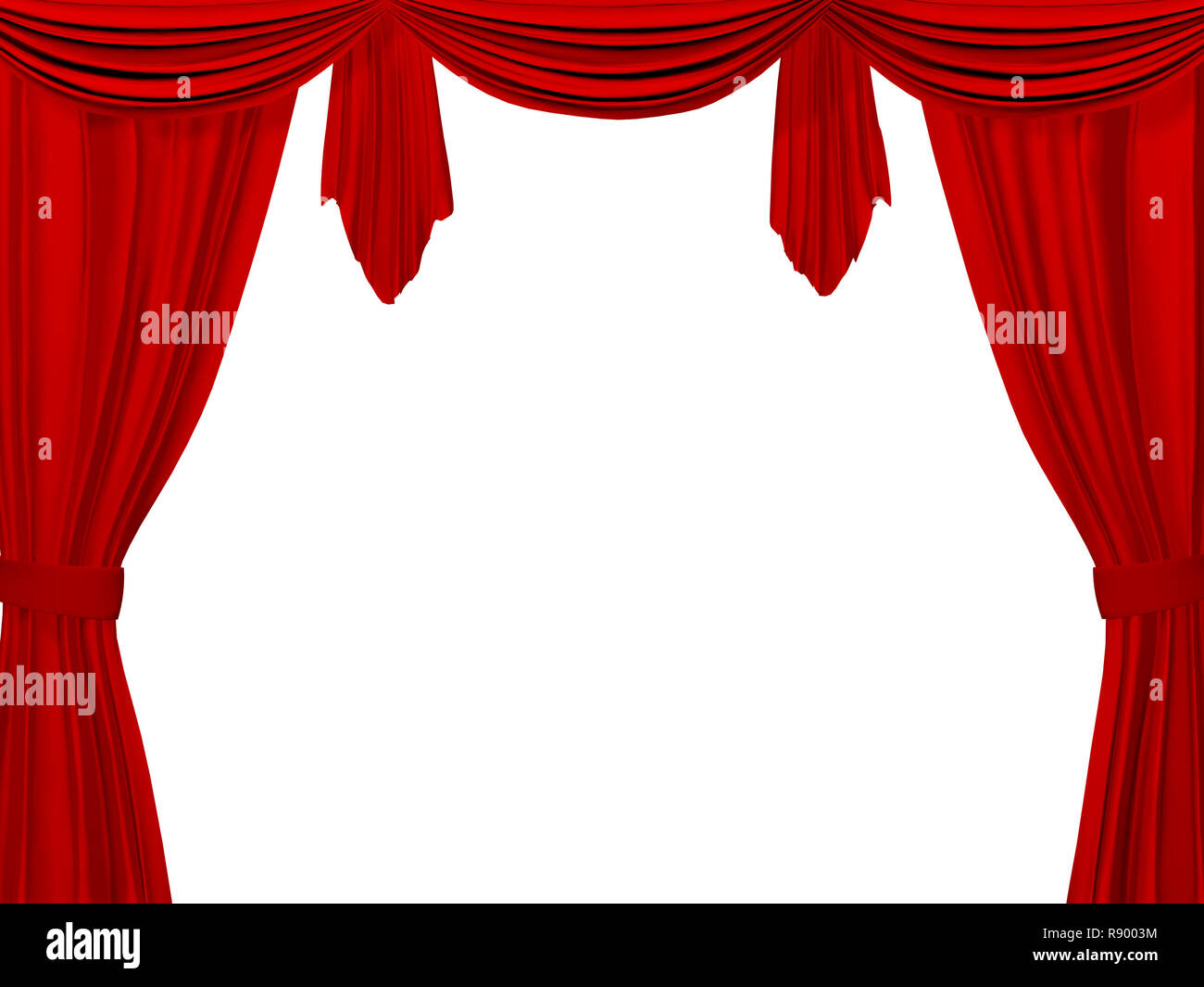 Theatrical curtain of red color. Object over white Stock Photo