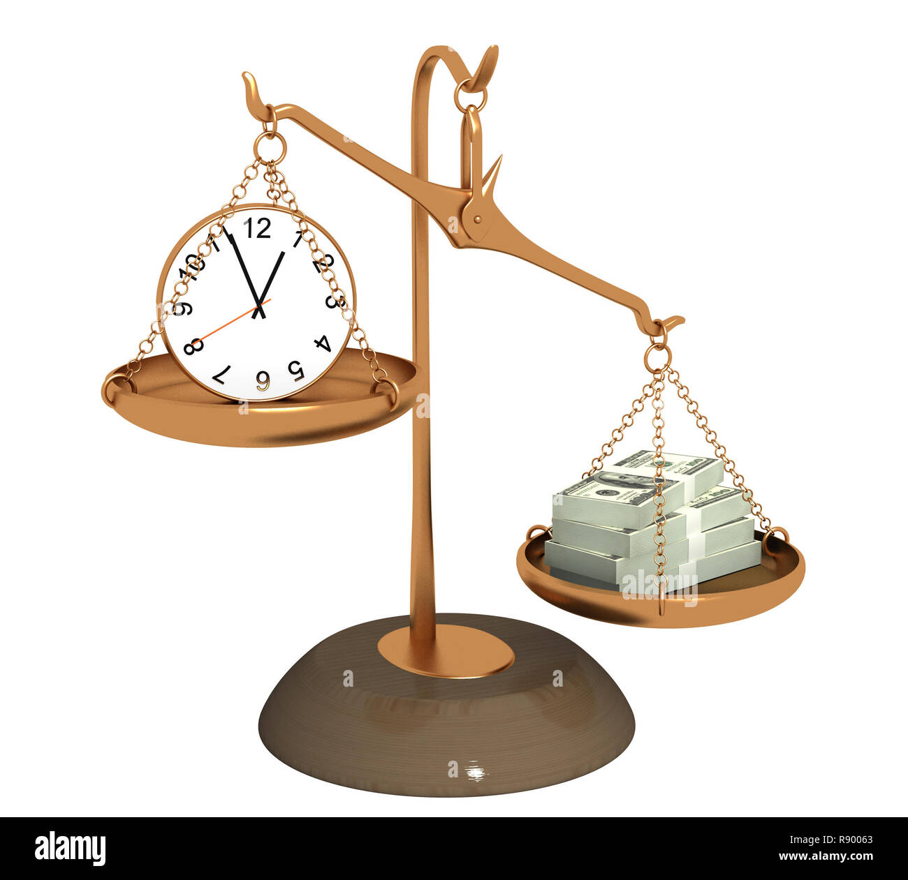 Concept - time is money. Objects over white - Stock Image