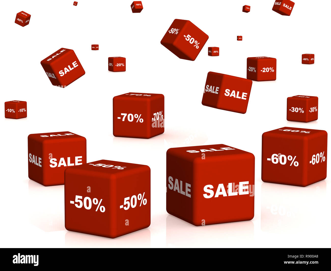 Red boxes with the goods at a discount. Objects over white - Stock Image