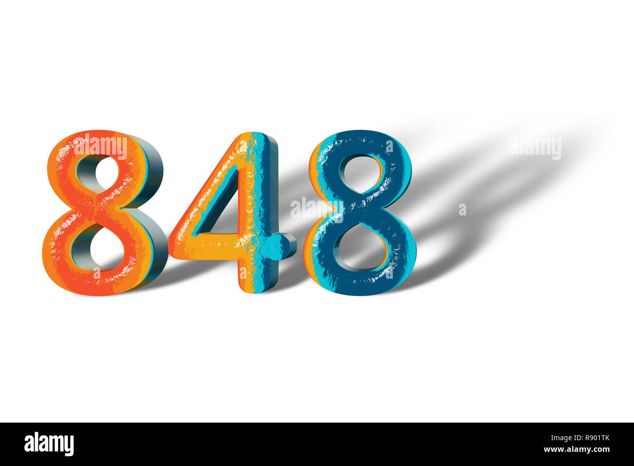 3D Number 848 forty eight hundred eight lively colours - Stock Image