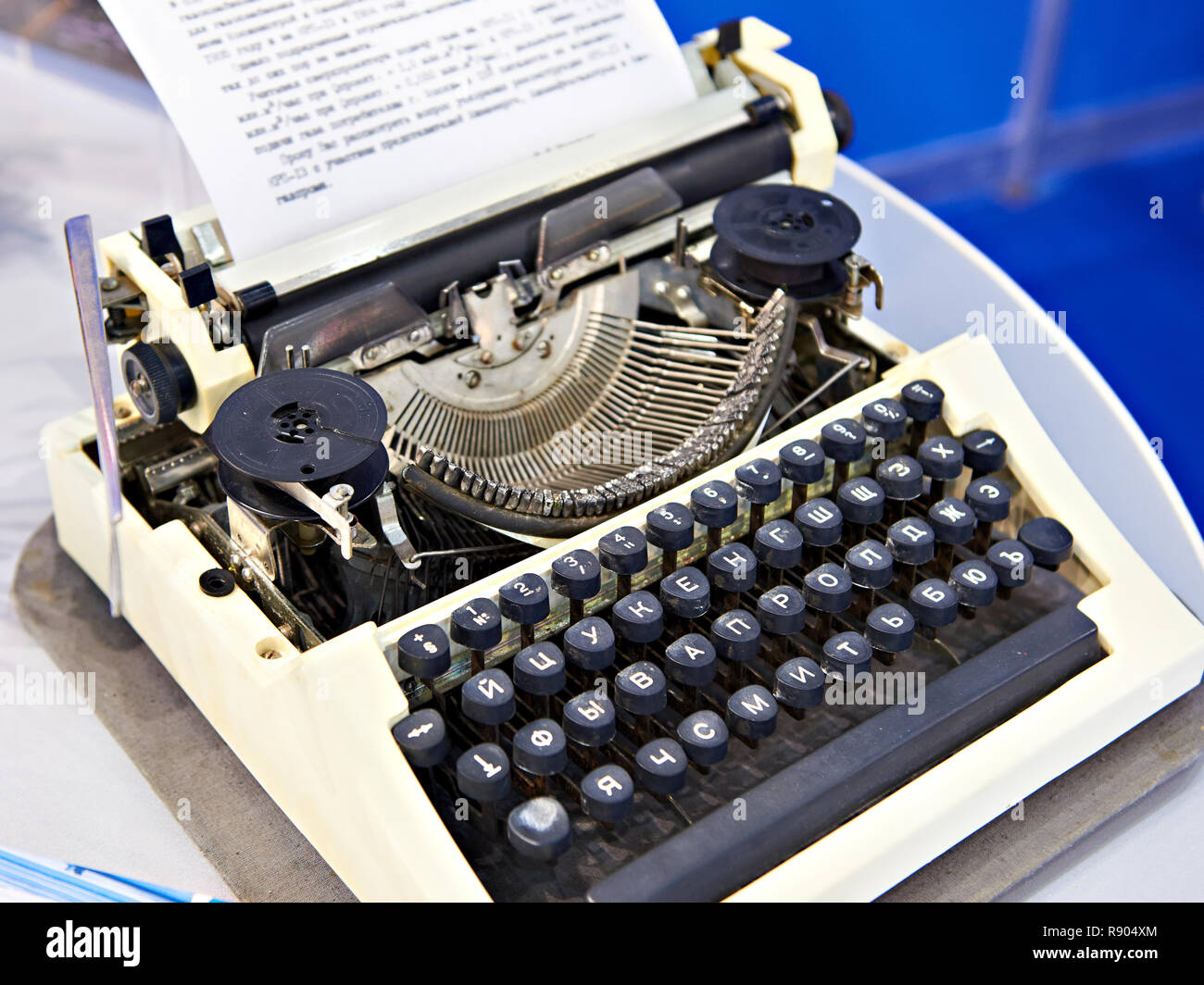 432e37b2894 Old mechanical typewriter with russian keyboard Stock Photo ...