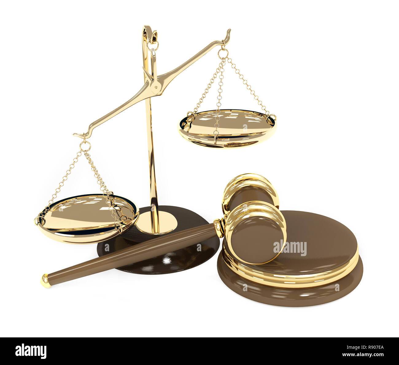 Gold scales and auction hammer. Objects over white - Stock Image