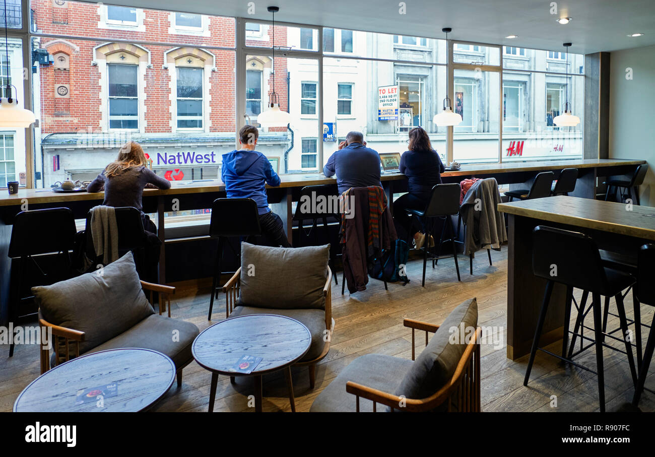 Interior of Ole & Steen Scandi bakery in Richmond upon Thames - Stock Image