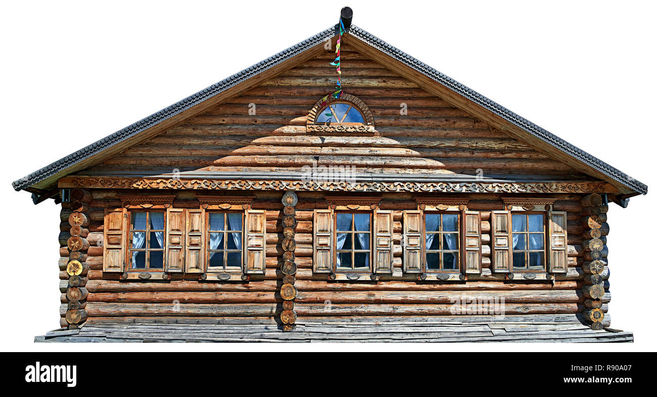 Traditional russian house (izba), Isolated on white. - Stock Image