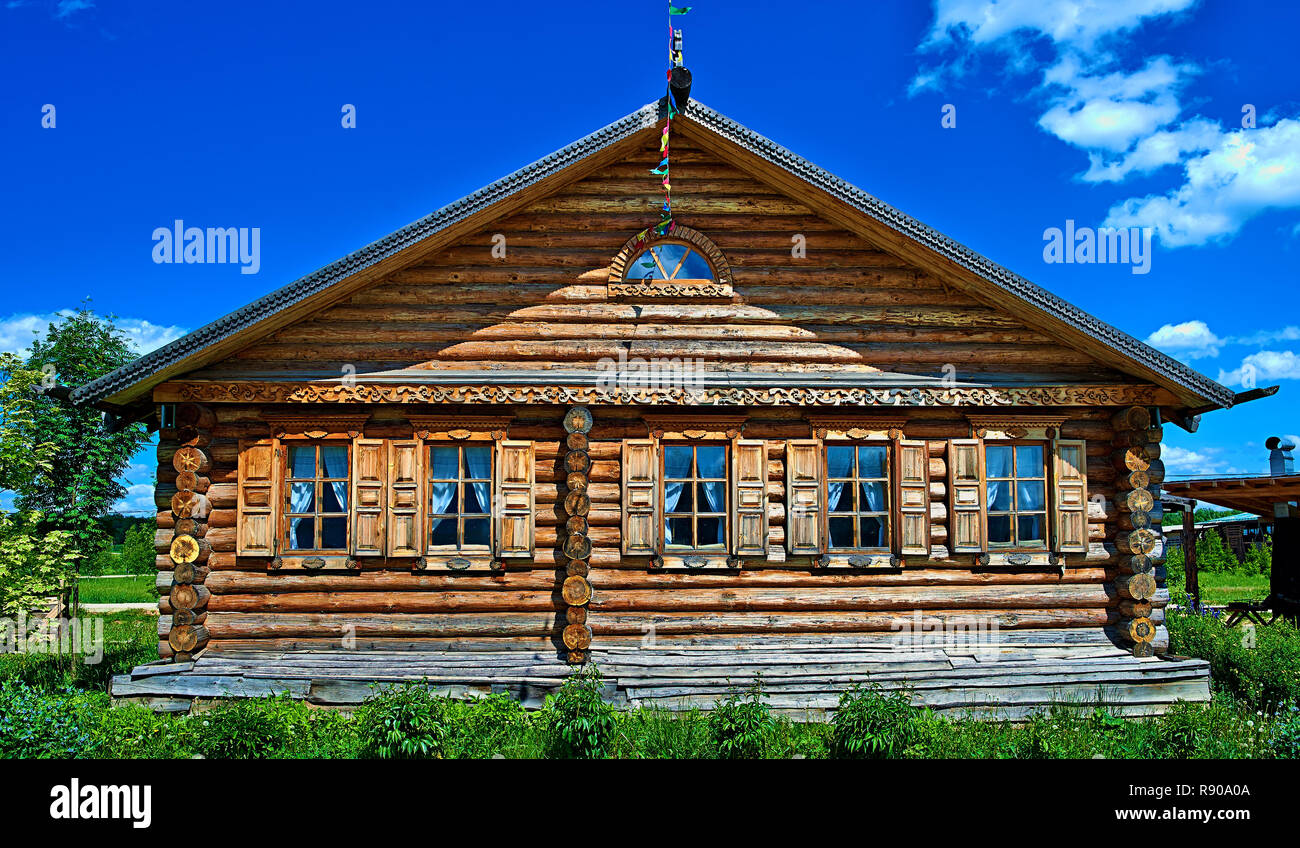 Krasnodar, RUSSIA - July 19, 2015: Traditional russian house (izba). - Stock Image