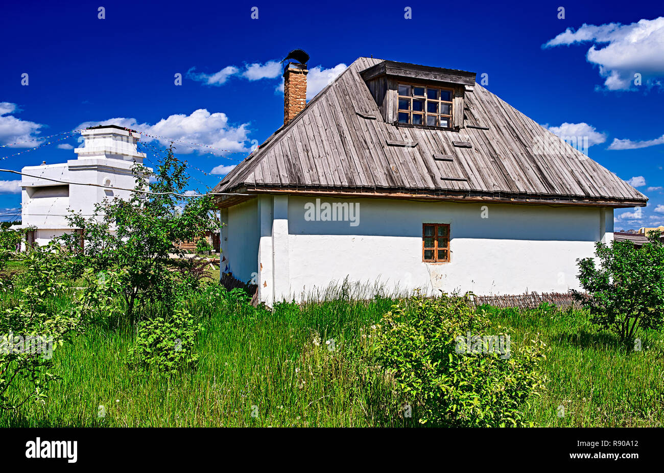 Krasnodar, RUSSIA - July 20, 2016: Traditional russian house (izba). - Stock Image