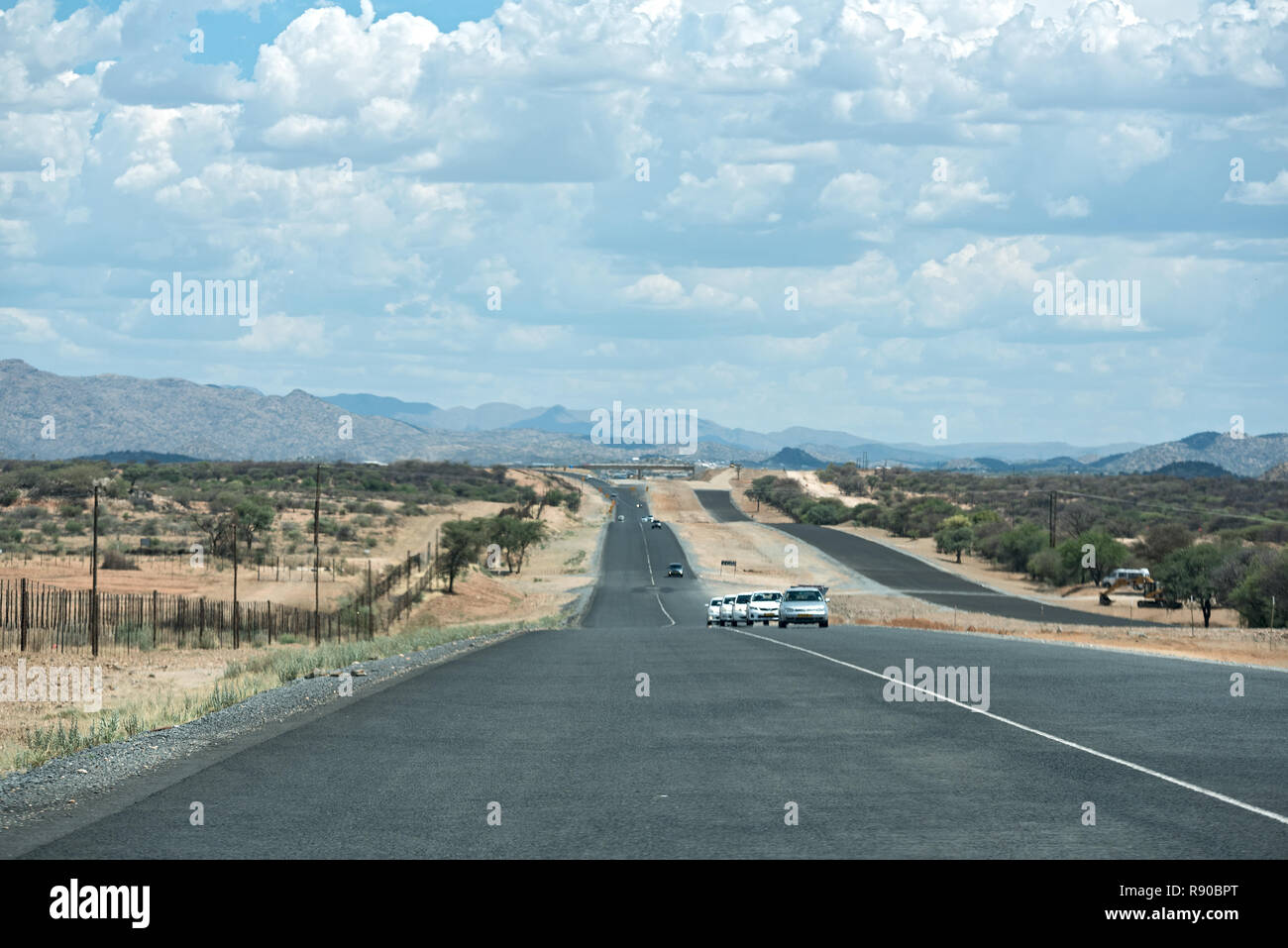 the new motorway a1 (b1) in the north of windhoek, namibia - Stock Image