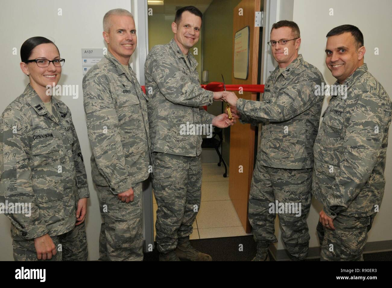 The 548th Intelligence Surveillance Reconnaissance Group Leadership Prepare To Cut Ribbon For Opening Of Operational Health Unit At Beale Air