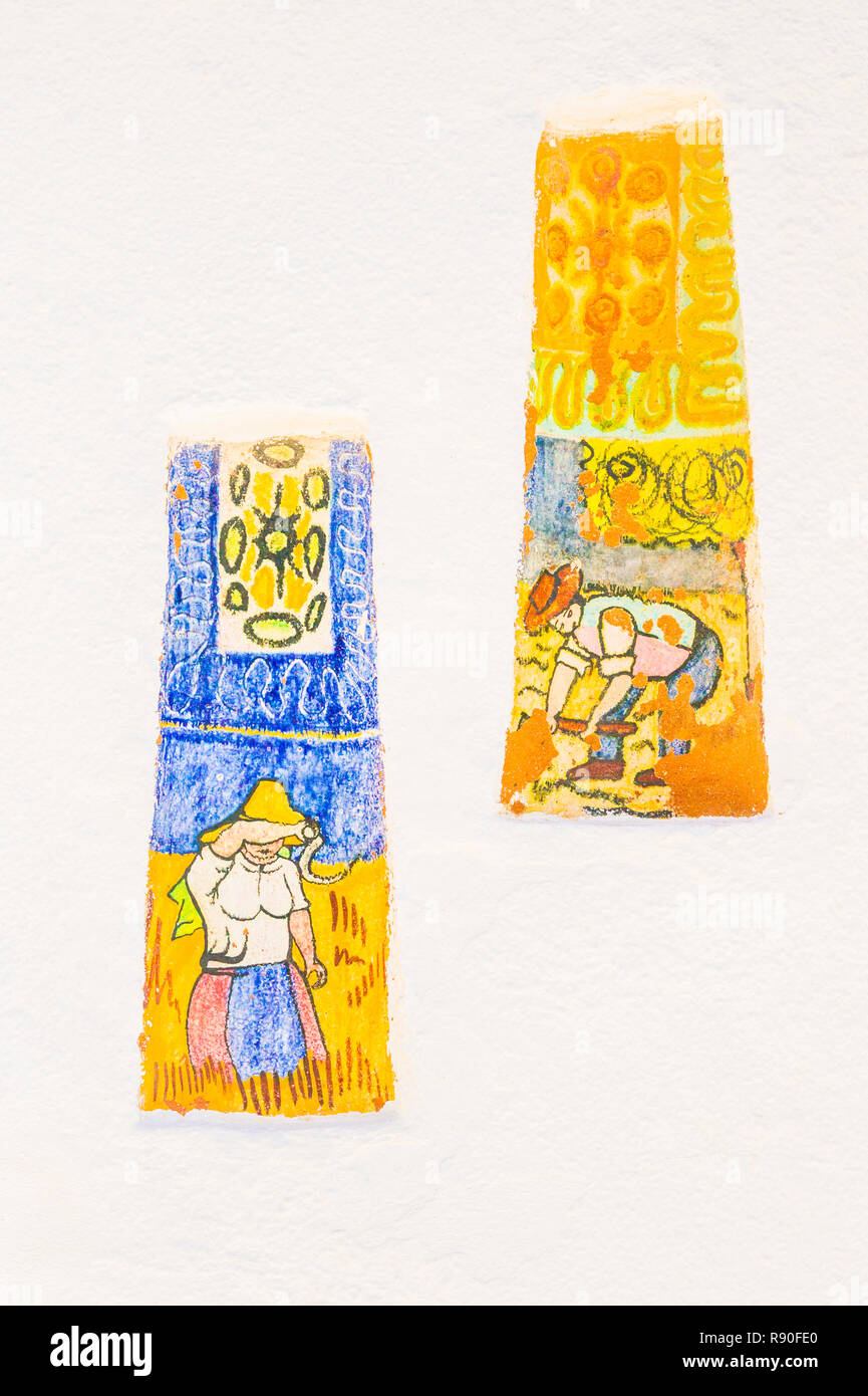 ceramic tiles with traditional agricultural motifs - Stock Image