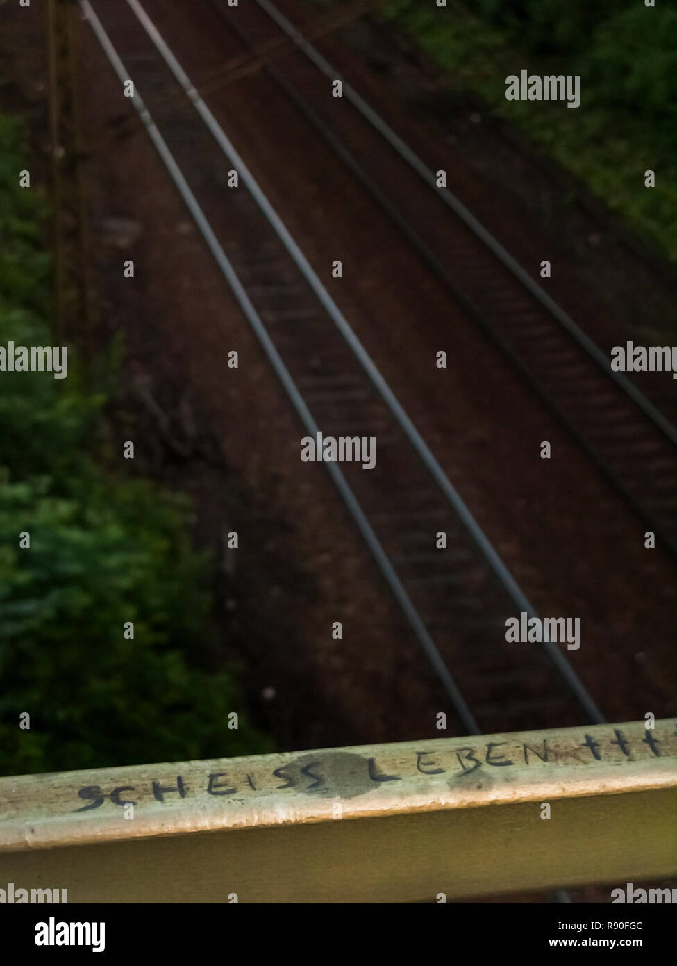 graffito on the parapet above a railway line, text: _ s..t life_, - Stock Image