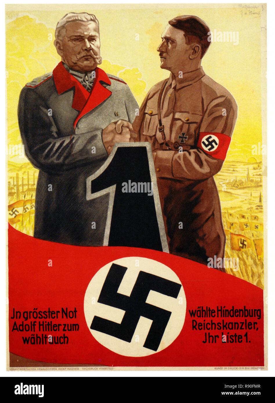 Hindenburg Chooses Hitler - Vintage German Nazi Propaganda Poster - Stock Image
