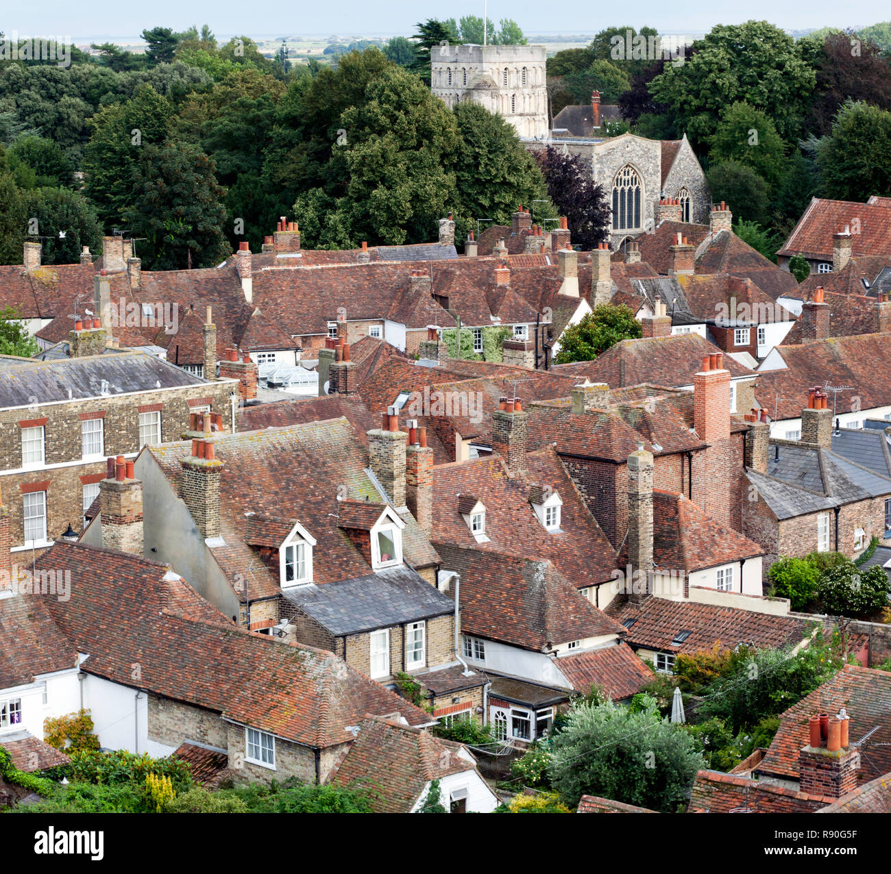 Aerial view looking towards  St Clement's Church, taken from the tower of St Peters Church, Sandwich, Kent Stock Photo