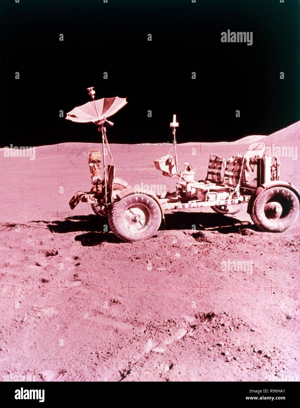 The first Lunar Roving Vehicle, Apollo 15, July 1971. Battery-powered four-wheeled rover used on the Moon in the last three missions of the American Apollo program (15, 16, and 17) in 1971 and 1972. It was popularly known as the 'Moon buggy'. - Stock Image
