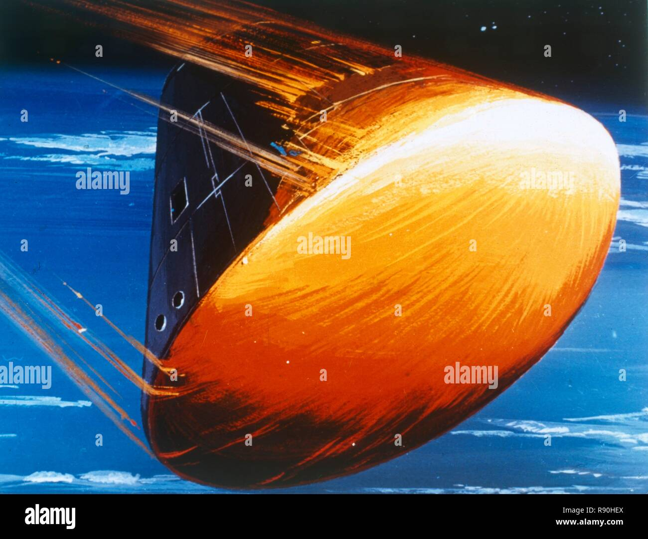 Artist's concept of Command Module re-entry in 5000° heat. The Apollo Command/Service Module was used for the Apollo program which landed astronauts on the Moon between 1969 and 1972. An ablative heat shield on the outside of the CM protected the capsule from the heat of re-entry (from space into Earth's atmosphere), which is sufficient to melt most metals. During re-entry, the heat shield charred and melted away, absorbing and carrying away the intense heat in the process. - Stock Image