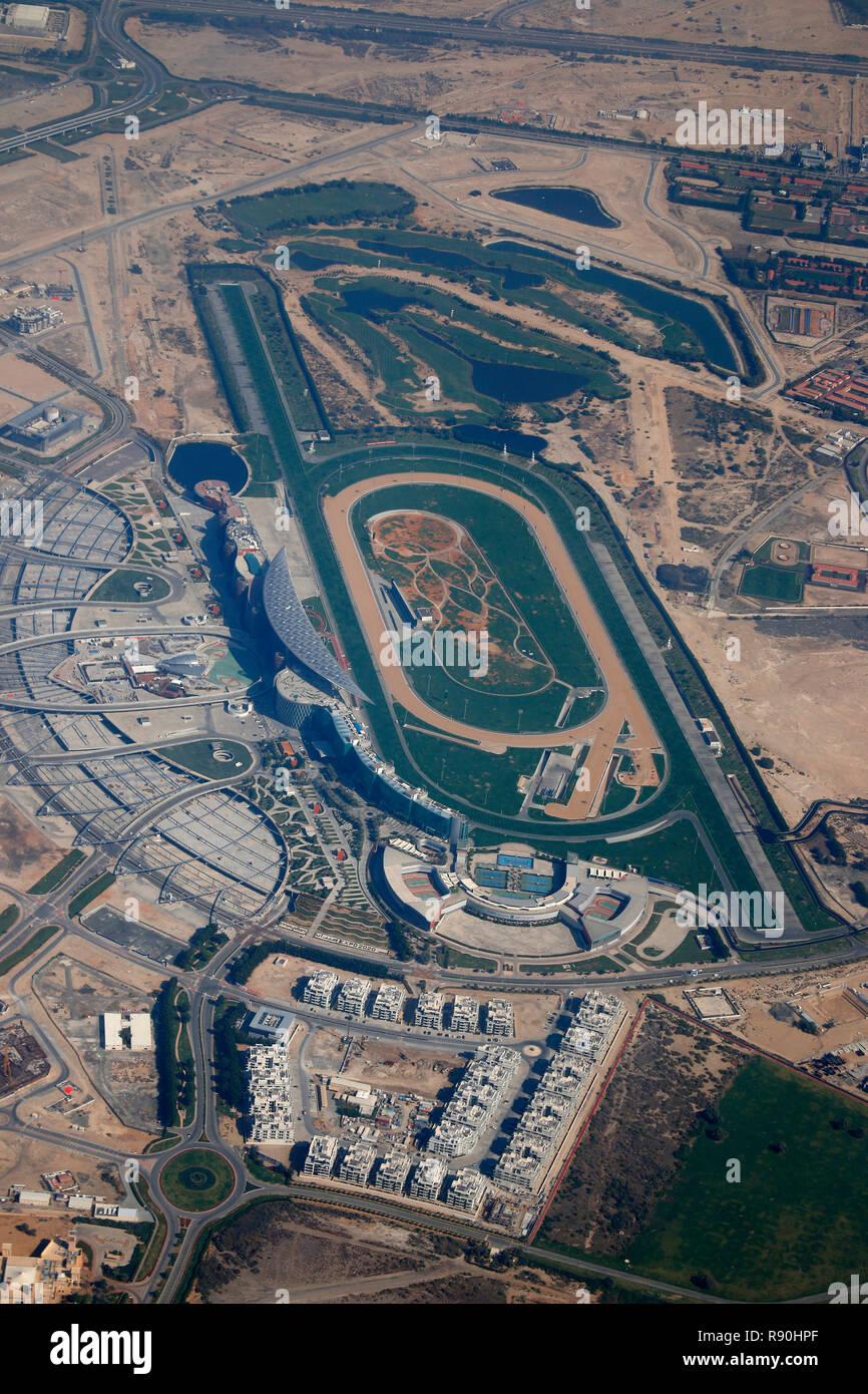 Luftbild  Meydan Pferderennbahn, Downtown, Dubai/ aerial image: Meydan Horse Race Track, Downtown Dubai. - Stock Image