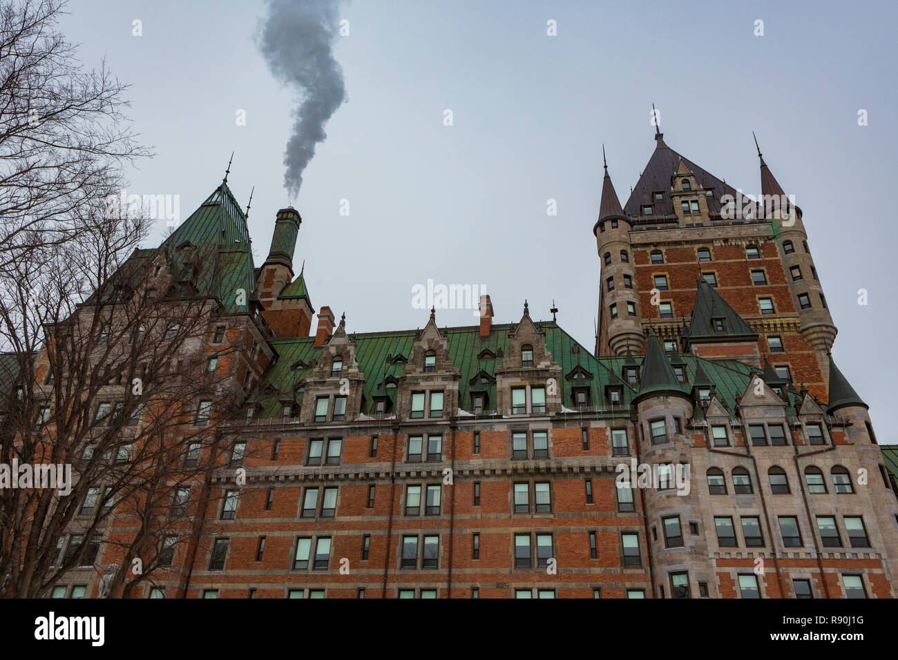 The Fairmont Le Château Frontenac, formerly and commonly referred to as the Château Frontenac, is a historic hotel in Quebec City, Quebec, Canada. - Stock Image