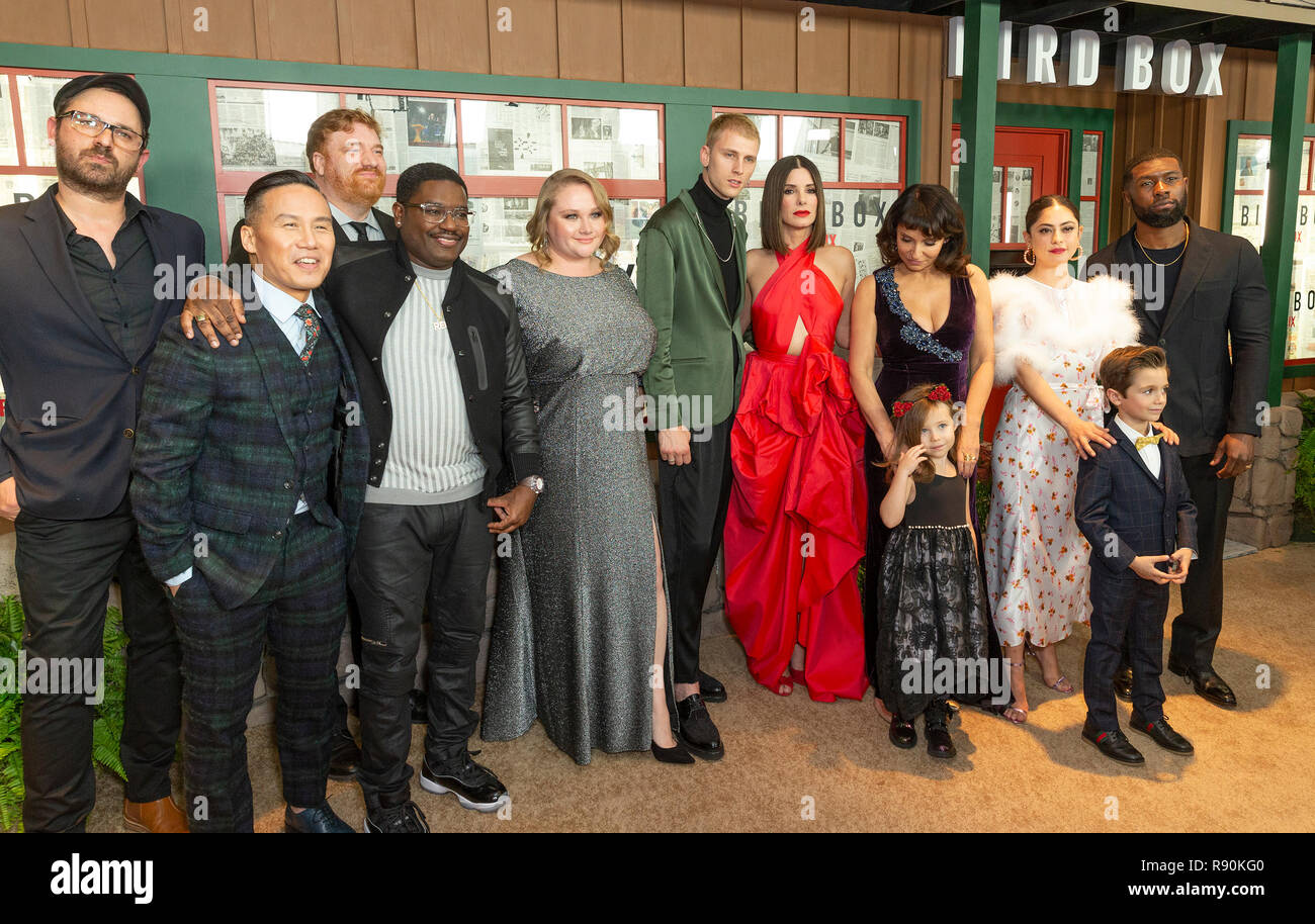 Cast and crew attend the New York screening of 'Bird Box' at Alice Tully Hall Lincoln Center (Photo by Lev Radin / Pacific Press) - Stock Image