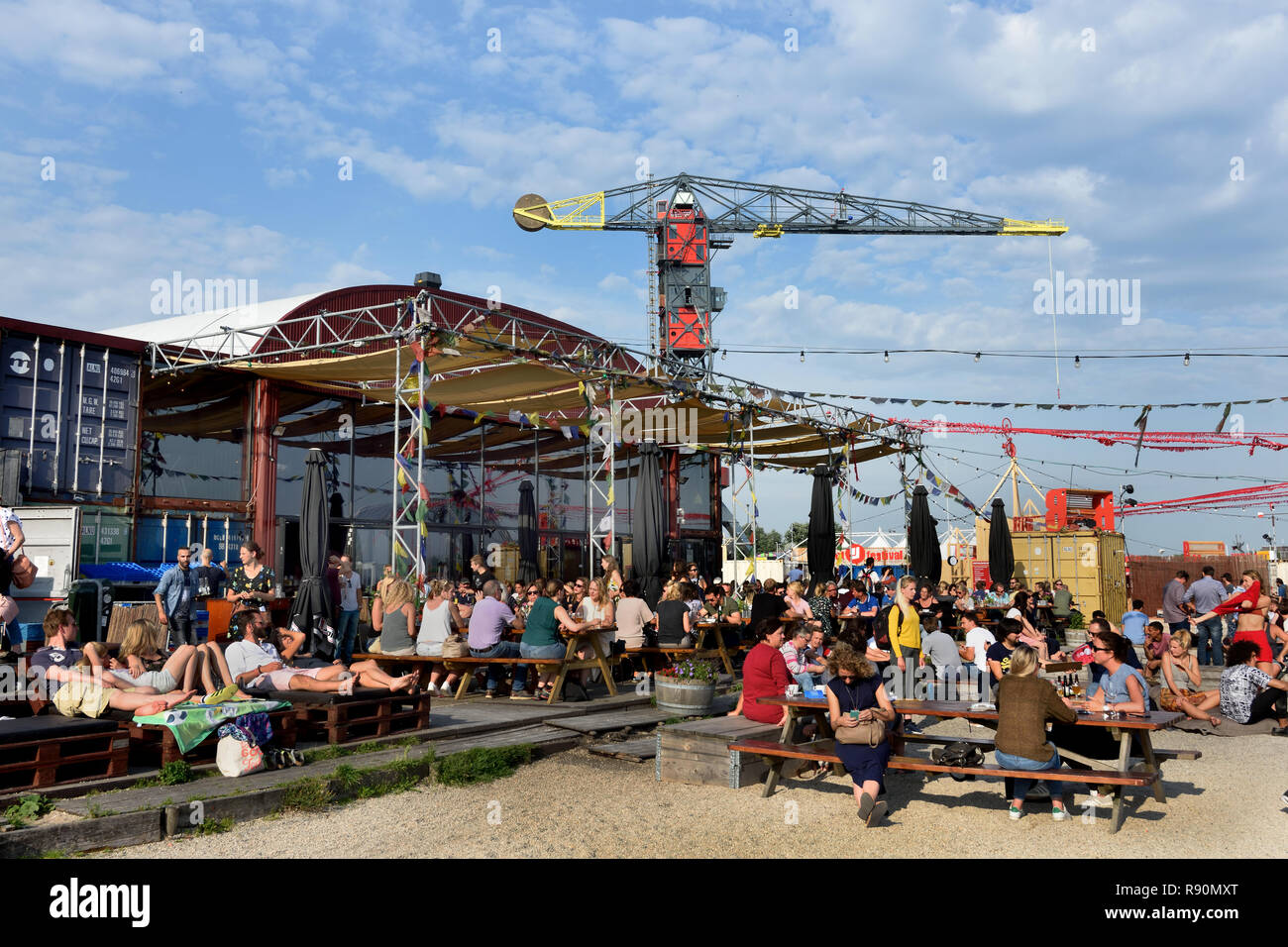 Pllek beach cafe pub bar  Pllek is constructed of industrial raw materials ( shipping containers ) restaurant on the IJ Port NDSM wharf in Amsterdam N - Stock Image