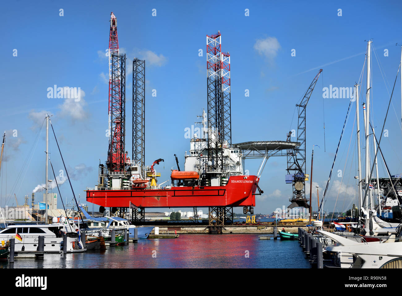 Shipdock bv Amsterdam north side of the IJ at the NDSM  Dutch Netherlands - Stock Image