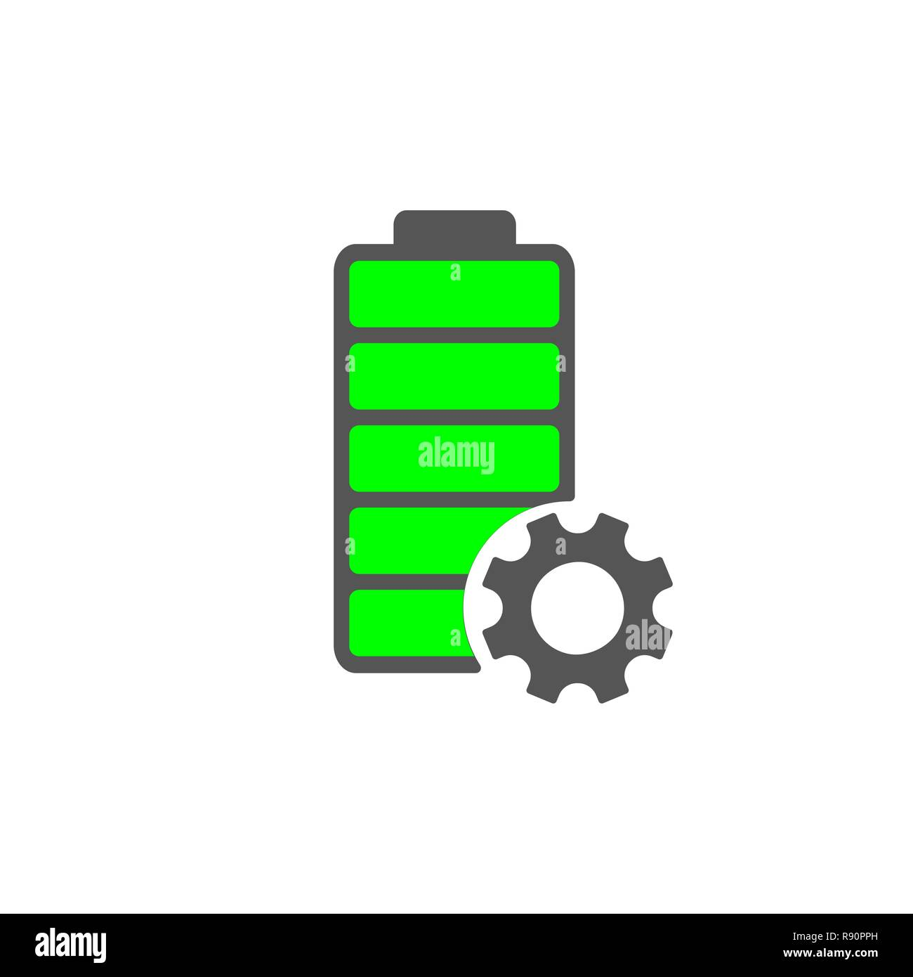 Battery icon. Accumulator vector and settings icon of power level. EPS 10 - Stock Vector