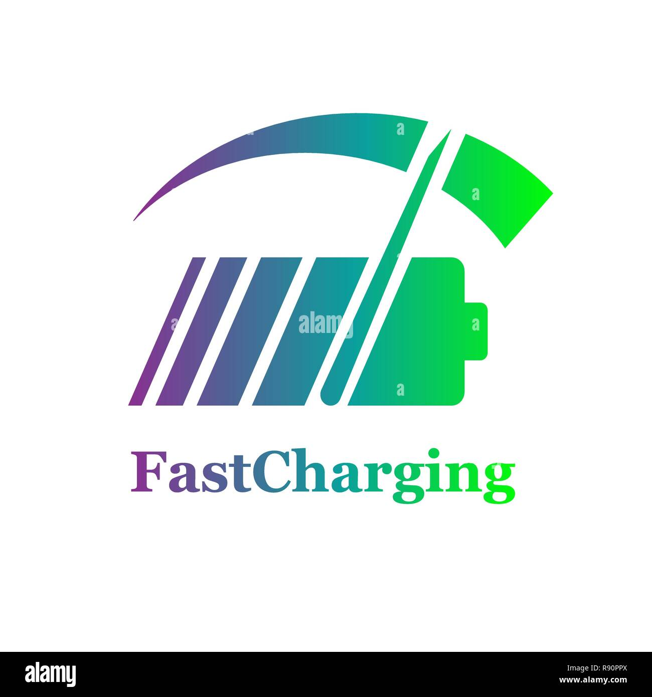 Colorful Battery fast charge logo design. Vector. EPS 10 - Stock Vector