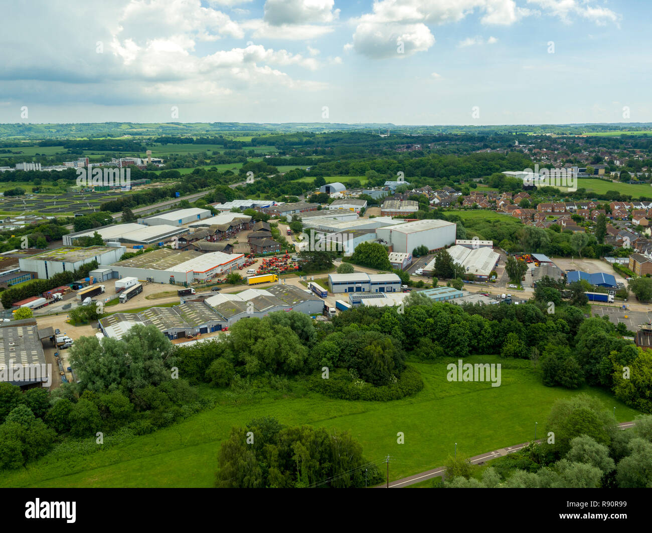 Aerial view of Henwood industrial estate, Ashford, Kent, UK Stock Photo