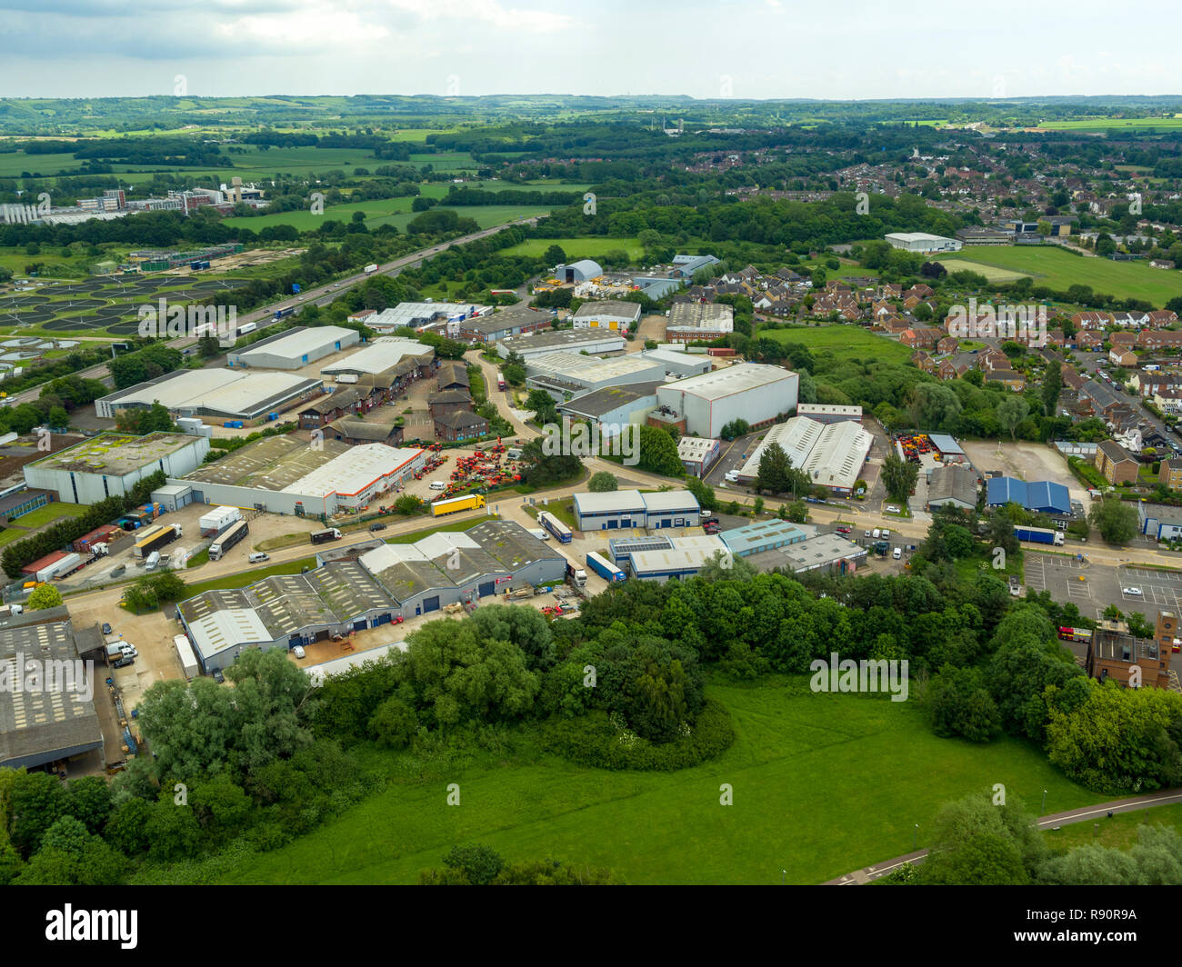 Aerial view of Henwood industrial estate, Ashford, Kent, UK - Stock Image