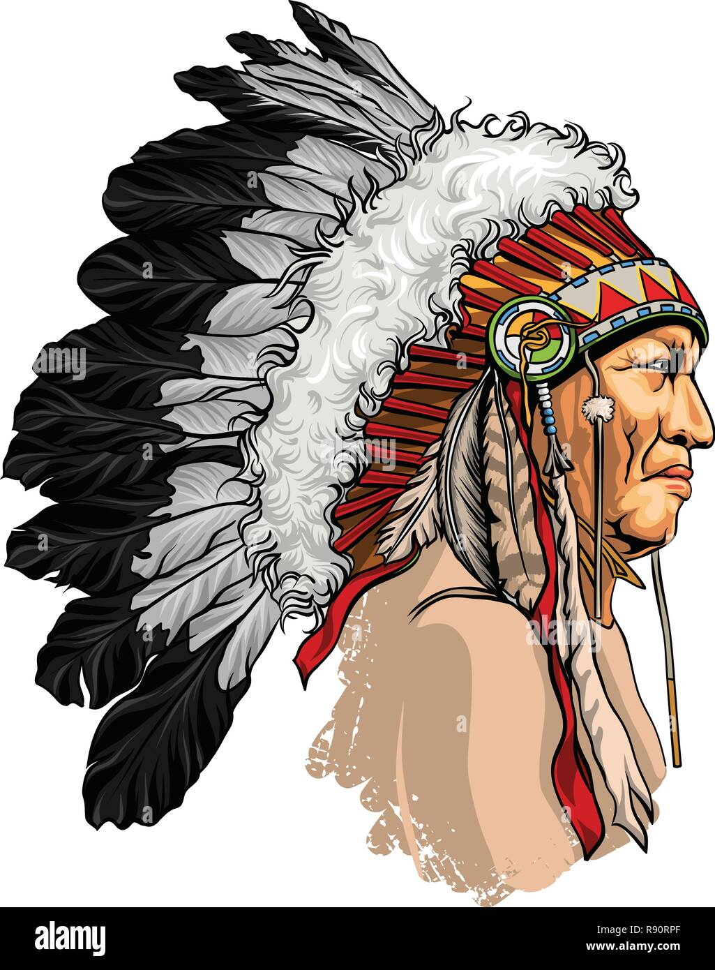 31517ca8d3652 Detailed, hand drawn, native american sitting bull vector portrait.  Headdress with feathers indian