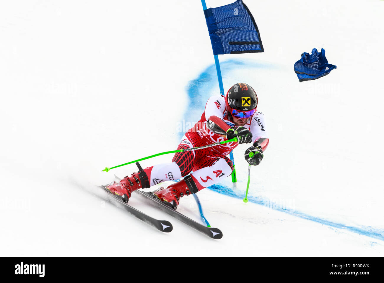 Alta Badia, Italy 16 December 2018.  HIRSCHER Marcel (Aut) competing in the Audi Fis Alpine Skiing World Cup Men's Giant Slalom on the Gran Risa - Stock Image