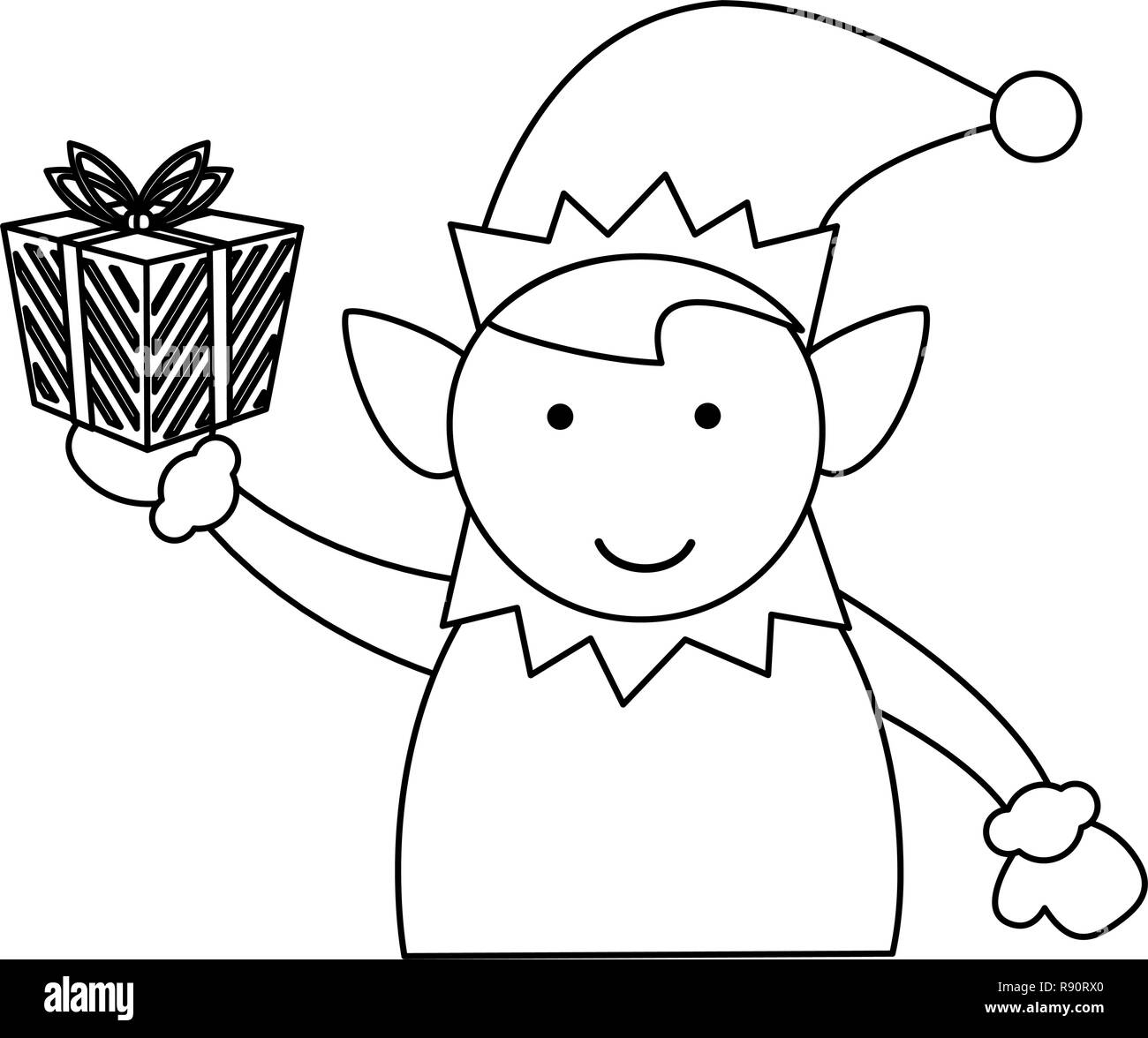 Christmas Elf Cartoon Black And White Stock Vector Art