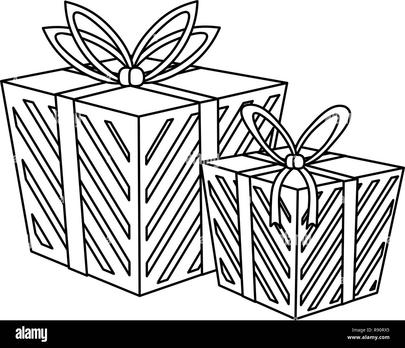 Christmas Gift Boxes Black And White Stock Vector Image Art Alamy