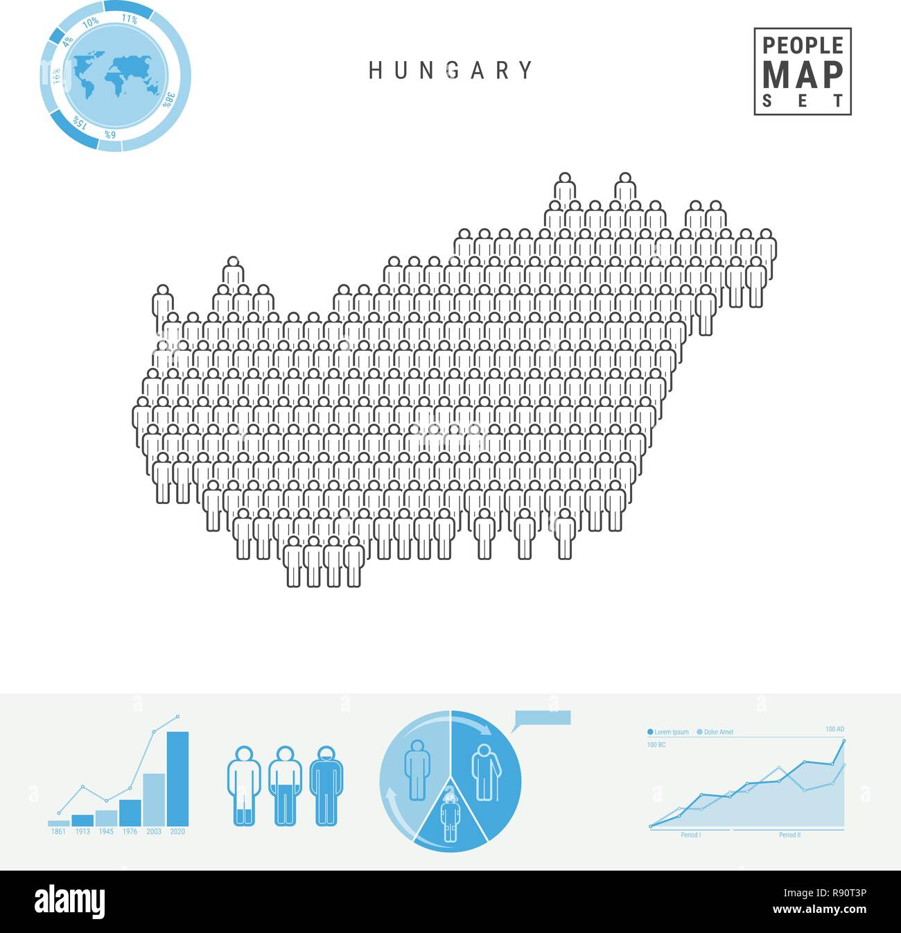 Hungary People Icon Map  Stylized Vector Silhouette of